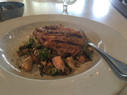 Scottish Salmon on quinoa and broccoli salad-- so darn good!